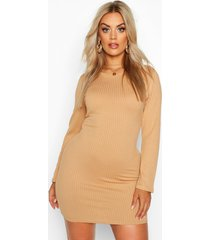 plus jumbo rib long sleeve bodycon dress, gold