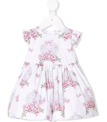 monnalisa cage of flowers dress - white