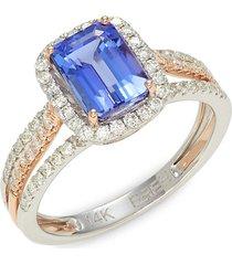 effy women's 14k two-tone gold, tanzanite & diamond ring/size 7 - size 7