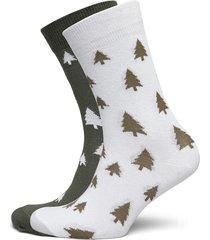 socks sigtuna 2-pack trees white and leaf green underwear socks regular socks svart dedicated