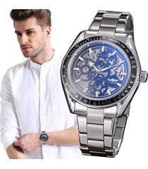 reloj winner automático hombre diseño skeleton – plateado con negro