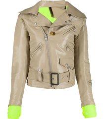 junya watanabe patent biker jacket - neutrals