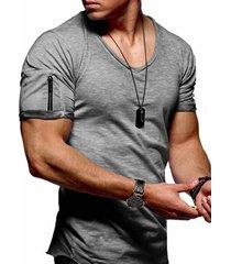 camiseta de manga corta con cuello en v y manga elástica pequeña para hombre enchufe