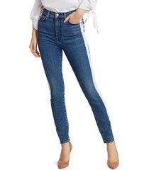 7 for all mankind women's high-rise bleached side stripe ankle skinny jeans - retro broadway - size 28 (4-6)