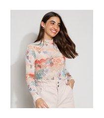 blusa de tule feminina manga longa cropped estampada floral gola alta off white