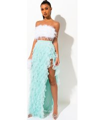 akira drinks on you tulle layered maxi skirt