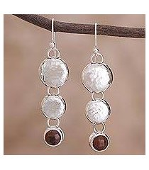 mahogany obsidian dangle earrings, 'impressions' (peru)