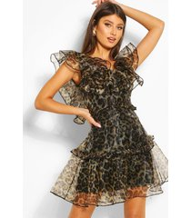 leopard print organza ruffle mini dress, brown