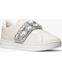 mk sneaker kenna in pelle e glitter con decori gioiello - panna (naturale) - michael kors