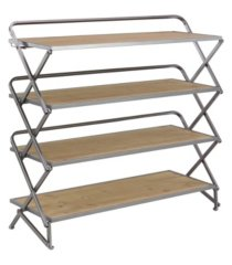 "farmhouse 30"" x 34"" wood and iron foldable four-tiered shelf"
