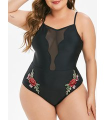 floral embroidered mesh panel plus size one-piece swimsuit