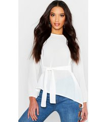 asymmetric hem belted woven top, white