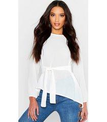 asymmetric hem belted woven top, white