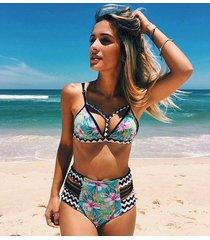 bikinis high waist swimsuit push up swimwear sexy print beach bathing suits