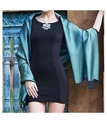 rayon and silk blend shawl, 'elegance in jade' (thailand)