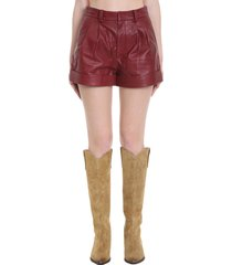 isabel marant étoile abot shorts in bordeaux leather