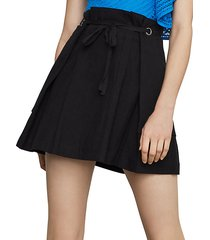 tie-front linen & cotton blend mini skirt