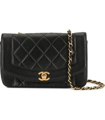 chanel pre-owned 1992 diamond quilted shoulder bag - black