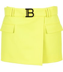 balmain short wool low rise skirt