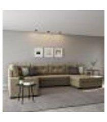 sofá de canto 6 lugares com chaise direito mônaco suede animale cinza