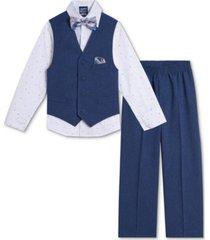 nautica baby boys shirt, poplin vest, pants & bowtie set
