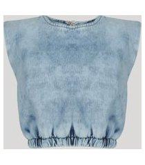 regata jeans muscle tee feminina cropped com ombreiras azul claro