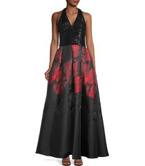 carmen marc valvo infusion women's sequin halter gown - black red grey - size 6