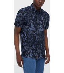 tommy hilfiger large seasonal print shirt s/s skjortor desert