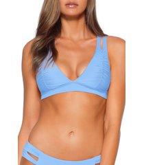 women's soluna clear skies halter bikini top, size large - blue