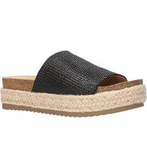 women's bella vita satara platform slide sandal, size 9 ww - black
