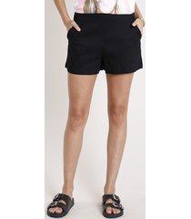 short feminino texturizado cintura alta com bolso preto