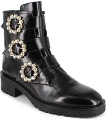 nanette lepore women's iggy embellished buckle booties women's shoes