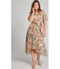 lane bryant women's crossover high-low midi dress 26 palm print