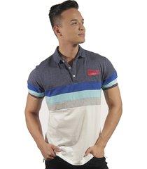 camiseta polo hombre manga corta slim fit azul marfil lines