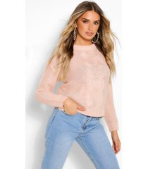 lightweight cable knit sweater, blush