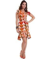 vestido manola babado neoprene colorido feminino