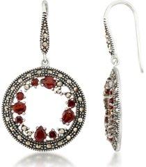 garnet (1-5/8 ct. t.w.) & marcasite earrings in sterling silver