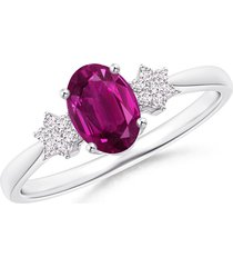 ruby & sim. diamond solitaire w/ accents ring pure 925 silver14k white gold over