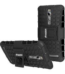 amzer hybrid warrior case - black for asus zenfone 2 ze551ml / delux