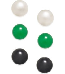 3 pc. set cultured freshwater pearl (8mm), onyx (8mm) and green quartz (8mm) stud earrings in sterling silver