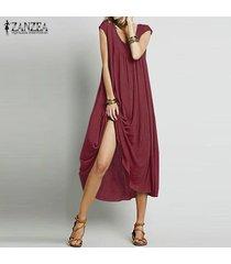 zanzea vendimia verano de las mujeres largas flojas tapas de la camisa holgada túnica del vestido maxi de boho -rojo