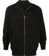 rick owens drkshdw ribbed front details sweatshirt - black
