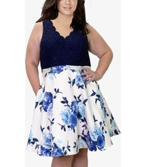 city studios trendy plus size lace & floral-print fit & flare dress