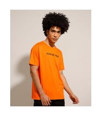 "camiseta de algodão positive vibes"" manga curta gola careca laranja"""