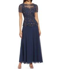 women's pisarro nights embellished mesh bodice evening gown, size 14 - grey