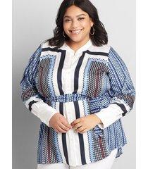 lane bryant women's mixed-print button-front belted tunic 30/32 multi geometric border print
