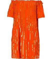 off-shoulder jurk met pailletten bella  oranje