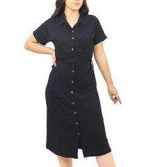 vestido dpontes chemise manga curta c/ gola liso feminino - feminino