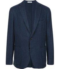 boglioli woven single-breasted jacket - blue