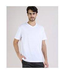 camiseta masculina básica manga curta gola v branco